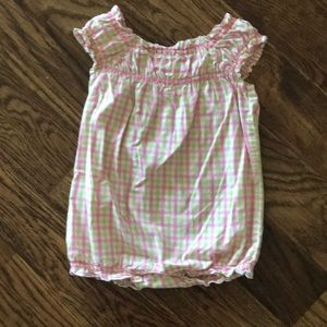 Gymboree pink and green checkered romper